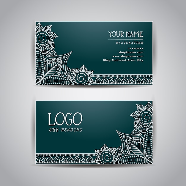blue business card template vector free download