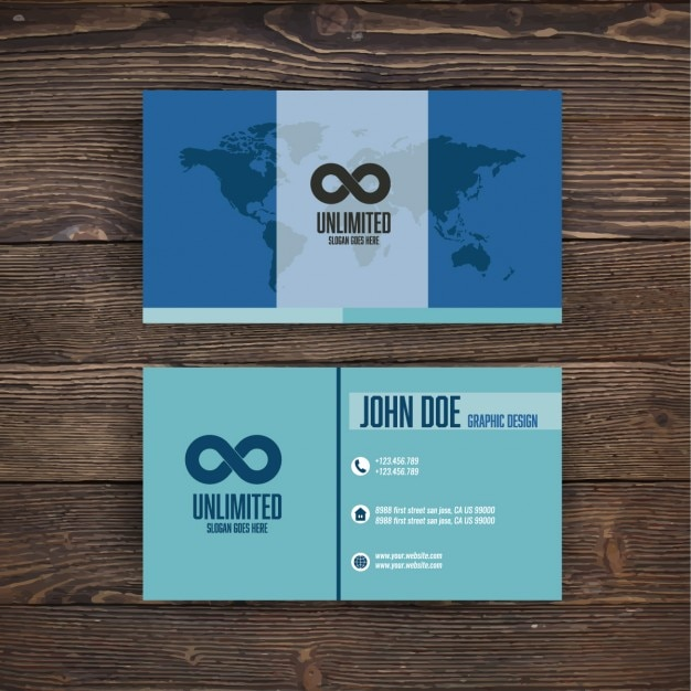 Blue business card with a world map vector free download blue business card with a world map free vector colourmoves