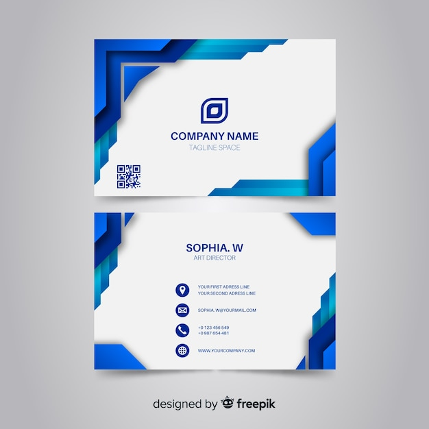 Blue business card with abstract logo Free Vector