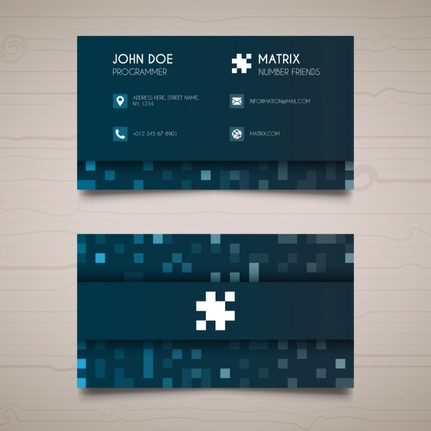 Blue business card with pixels vector free download blue business card with pixels free vector colourmoves
