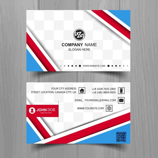 Blue business card with red shapes vector free download blue business card with red shapes free vector reheart Images