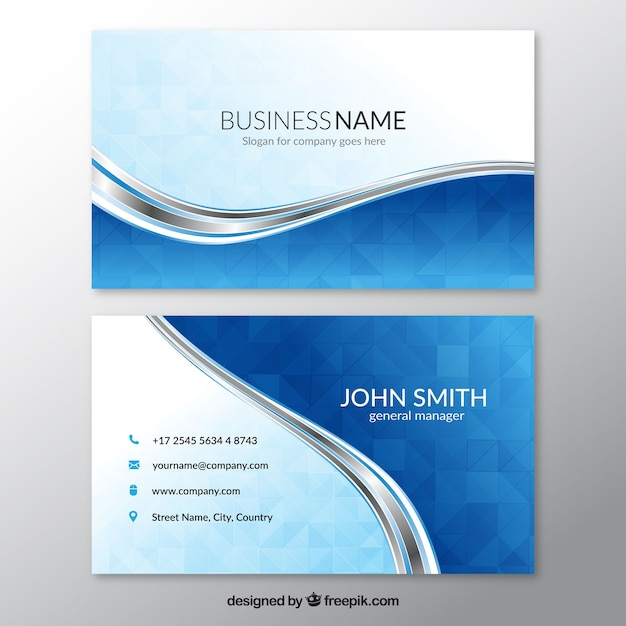 Blue business card with wavy lines Free Vector