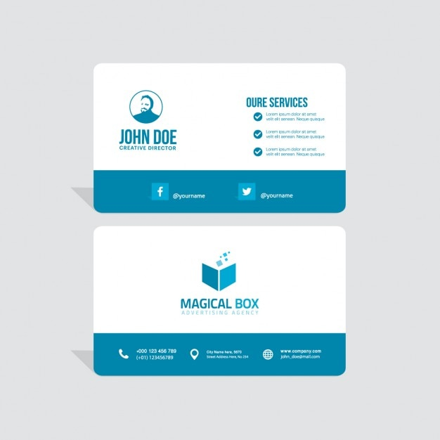 Blue business card Free Vector