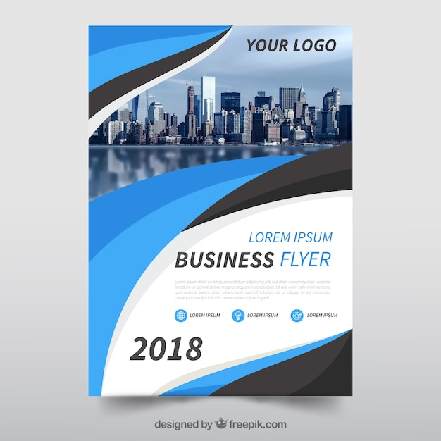 Blue Business Flyer Template Vector Free Download