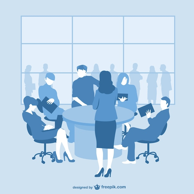 Blue business meeting silhouettes