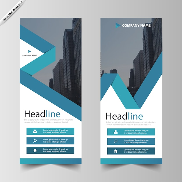 Blue business roll up banner template Premium Vector