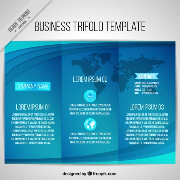 Blue business trifold template with wavy forms