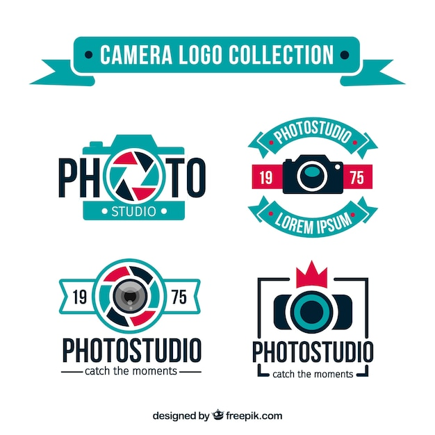 Blue camera logo collection