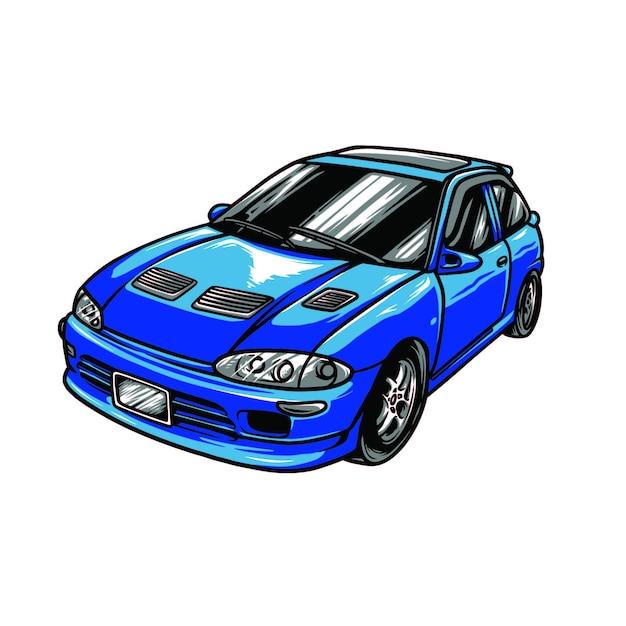 Blue car Premium Vector