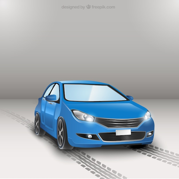 Blue car Free Vector