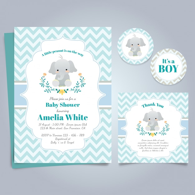 Blue card for baby shower with a cute elephant Free Vector
