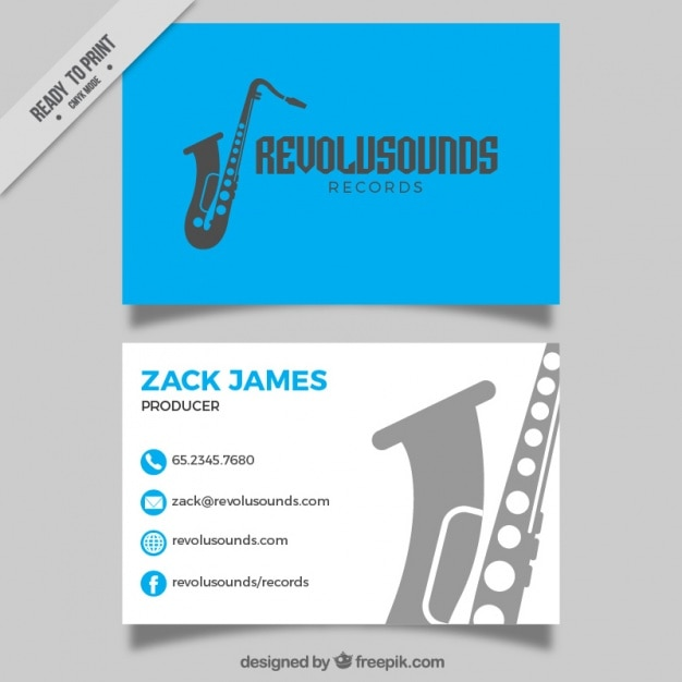 Blue card of music studio with saxophone silhouette Free Vector