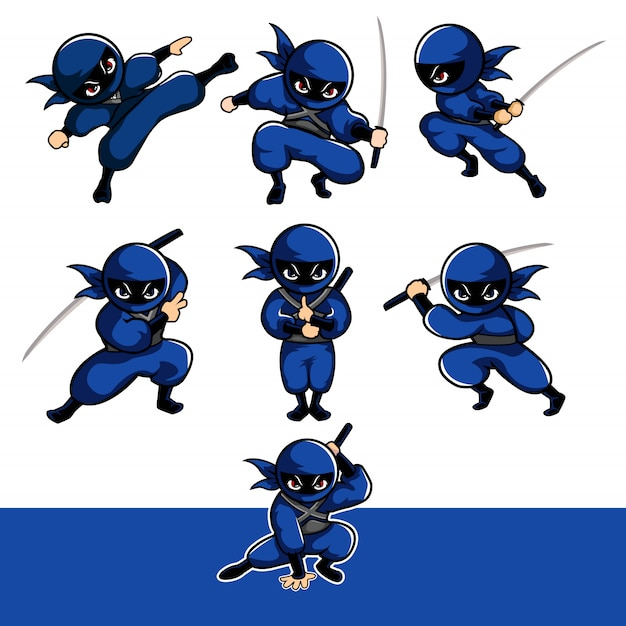 Blue cartoon ninja with seven different pose using sward Premium Vector