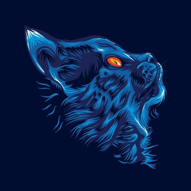 Blue cat logo Premium Vector