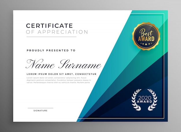 Blue certificate of appreciation template design Free Vector