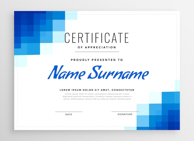 Blue certificate of appreciation template with mosaic shapes Free Vector