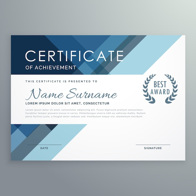 Great Blue Certificate Design In Professional Style Free Vector Inside Creative Certificate Designs