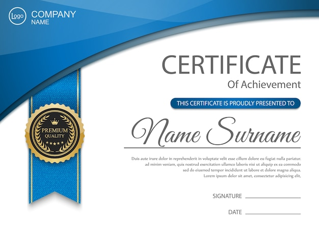 blue certificate design with medal and ribbons vector vector