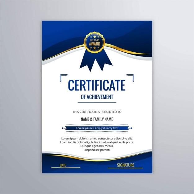 Blue Certificate Of Studies Vector Free Download