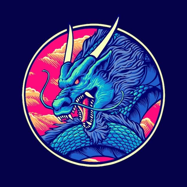 Иллюстрация синий китайский дракон Premium векторы