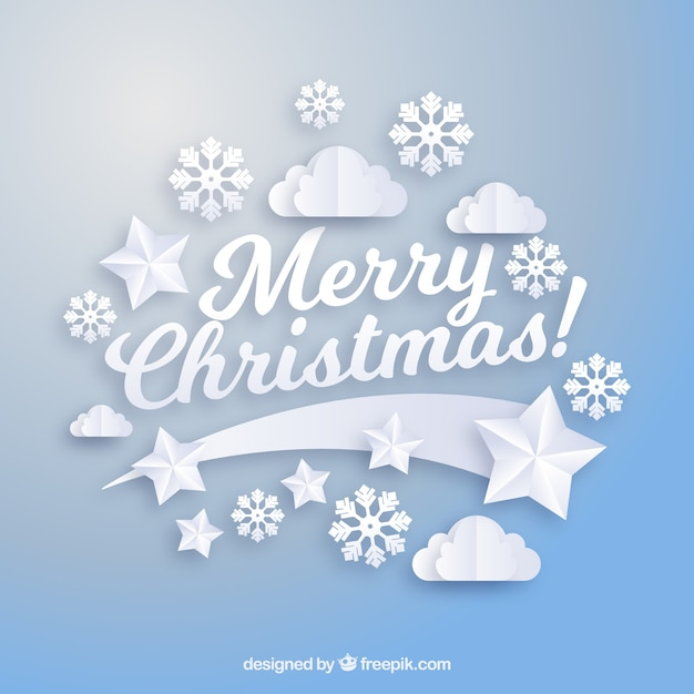 Blue christmas background with paper style elements