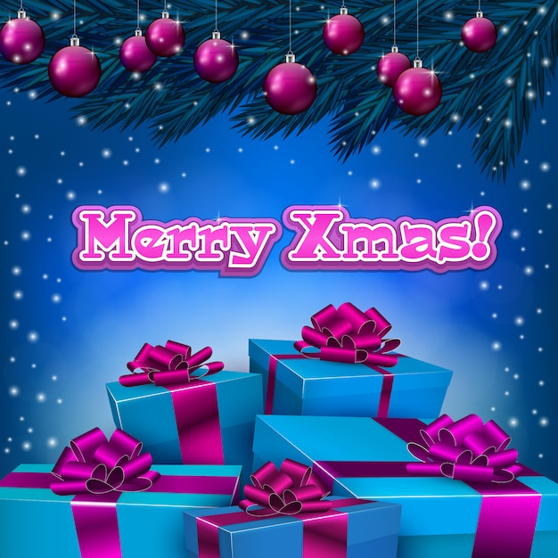 Blue christmas background with present boxes Premium Vector