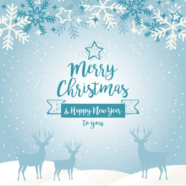 Blue Christmas Background With Silhouettes Of Reindeers And