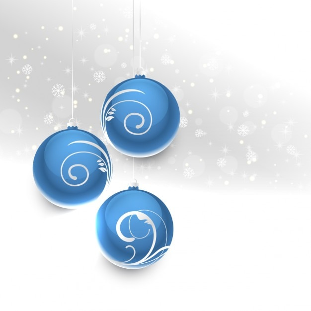 Blue Christmas Balls On A Silver Background Free Vector
