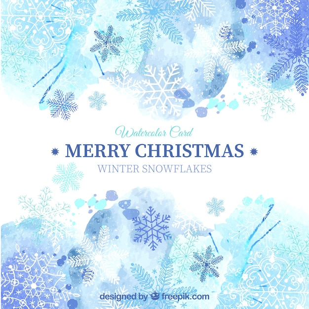 blue christmas card in watercolor style free vector - Blue Christmas