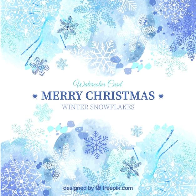 Синий рождественская открытка в стиле акварели Бесплатные векторы