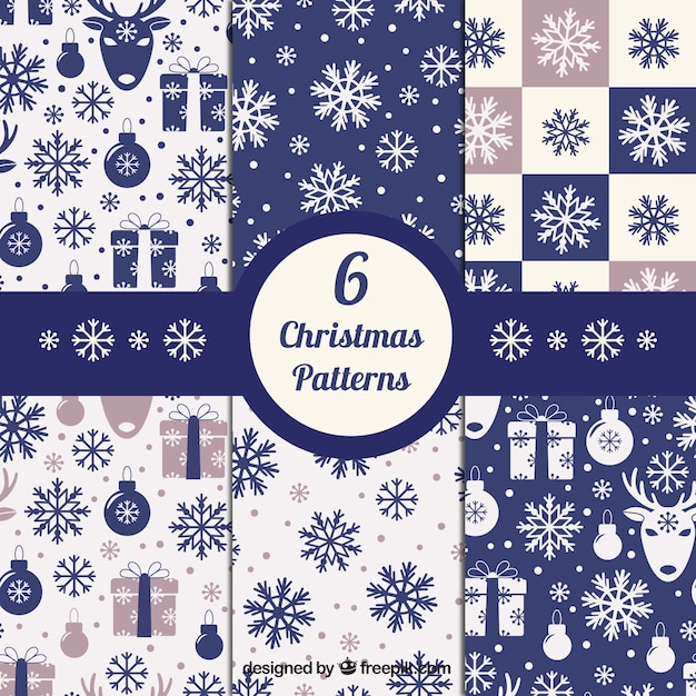 Blue christmas patterns collection Premium Vector