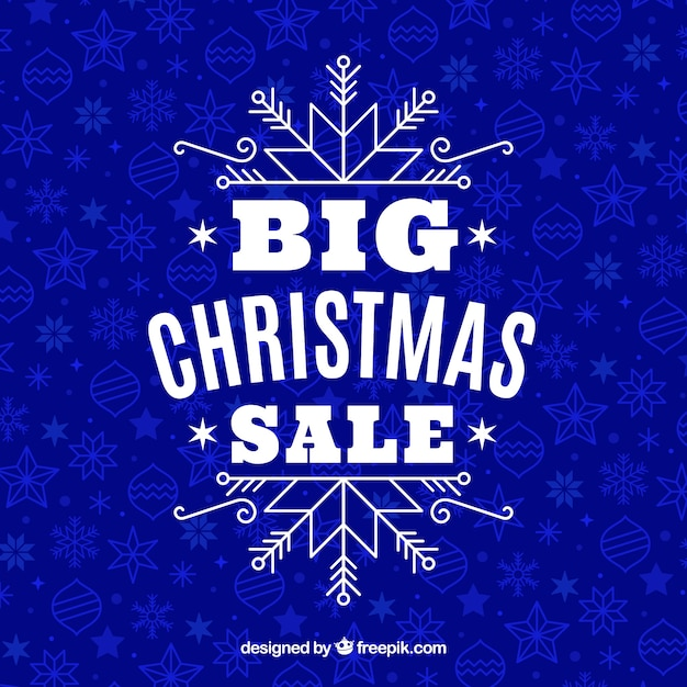 Blue christmas sale design Free Vector