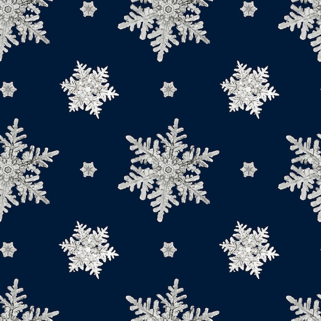 Blue christmas snowflake seamless pattern Free Vector