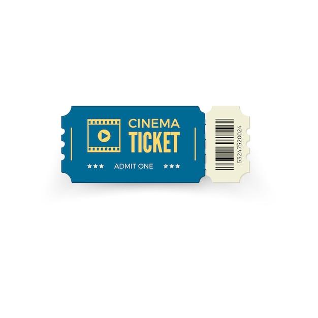 白い背景の青い映画のチケット。現実的な映画チケットテンプレート。図 Premiumベクター