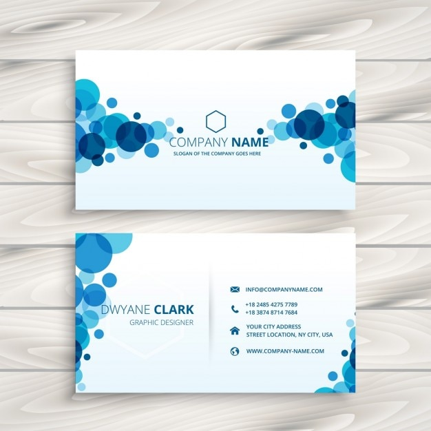 Blue circles business card Free Vector