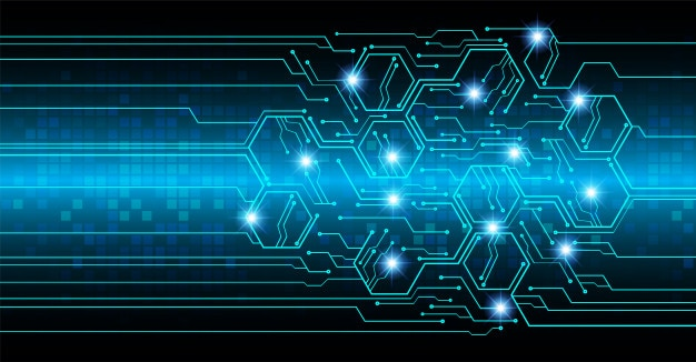 Blue circuit board cyber future technology Vector | Premium Download