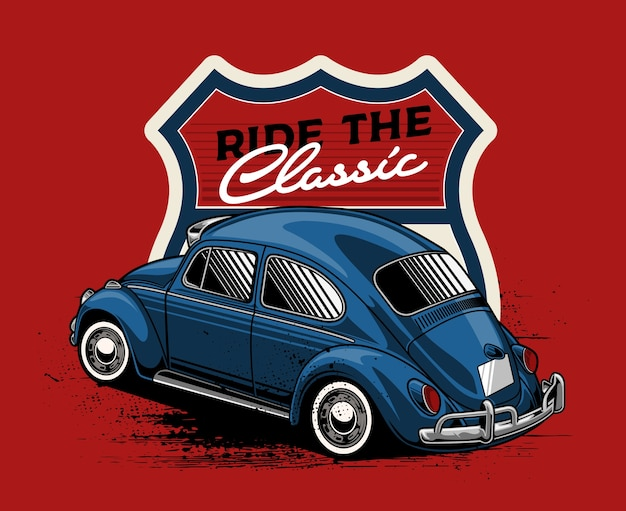 Blue classic car with badge background Premium Vector