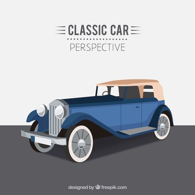 Blue Classic Car Vector Free Download