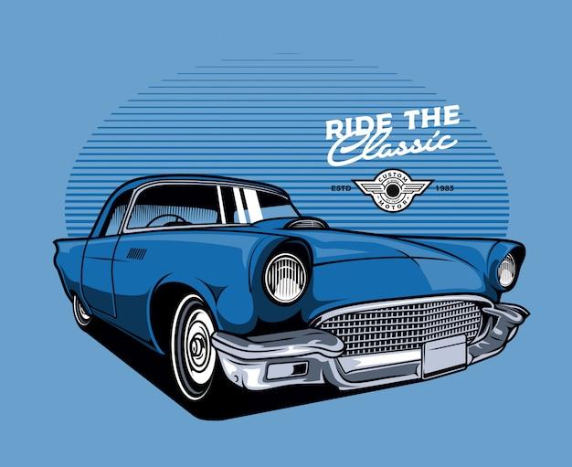 Blue classic car Premium Vector