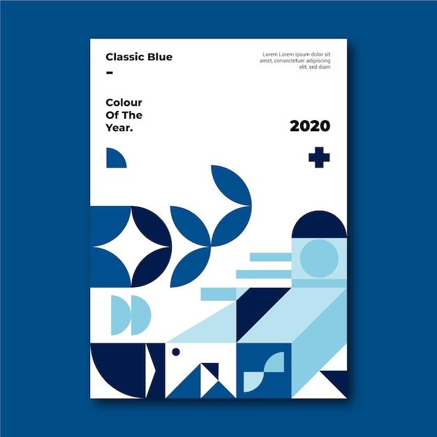 青い古典的な形のポスターテンプレート 無料ベクター