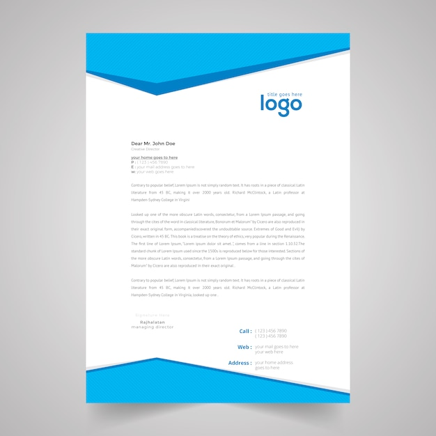Blue clean business letter head template vector design vector blue clean business letter head template vector design premium vector spiritdancerdesigns Choice Image