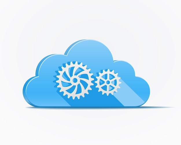 Blue cloud with gears or cog wheels depicting cloud computing  industry Free Vector