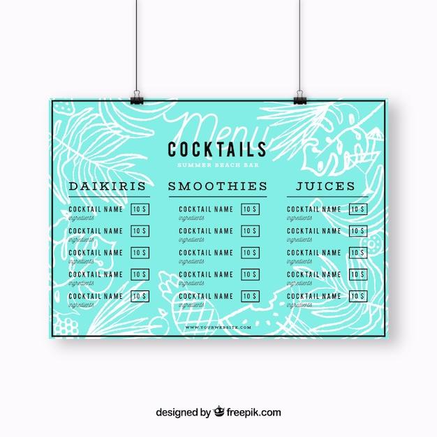 Blue Cocktail Menu Template Free Vector  Cocktail Menu Template Free Download