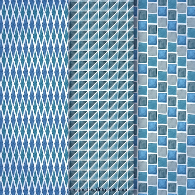 Blue collection of gemetric patterns