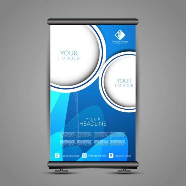 Blue color banner stand template Vector | Free Download