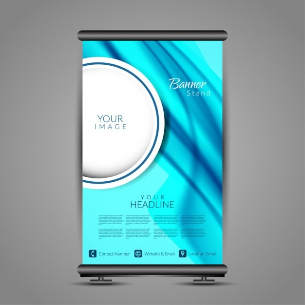 Blue color roll up banner stand template Vector | Free Download