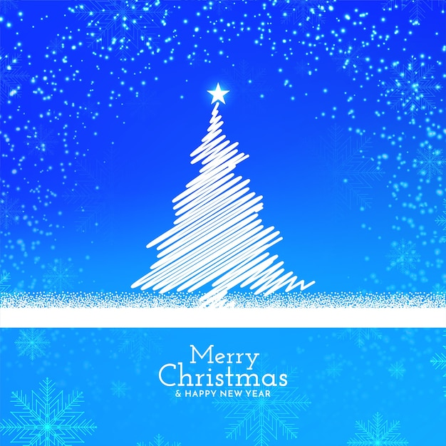 Blue color shiny merry christmas background design Free Vector