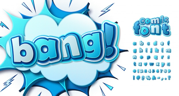 Blue comics font, multilayer alphabet in style of pop art. letters on comic book page with speech bubbles and explosions Premium Vector