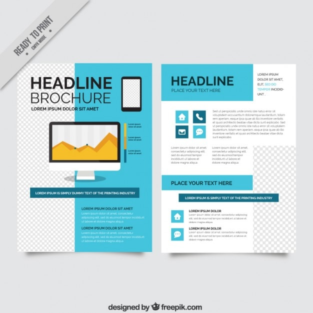 blue company brochure vector free download