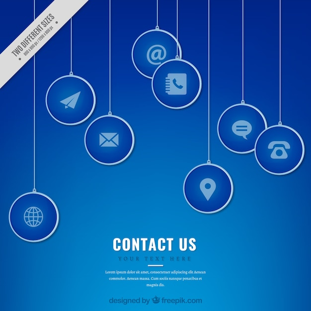 Blue contact icons background Free Vector